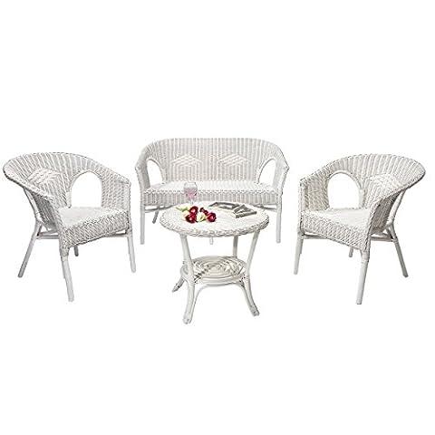 Rattan Lounge CHRIS - white wicker - 2 seater sofa