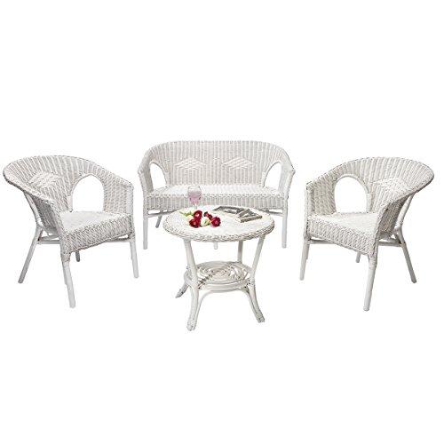 Rotin Design Rebajas : -47% Salon Chris de Mimbre Blanco Moderno : 1 Sofa, 2 sillones y una Mesa