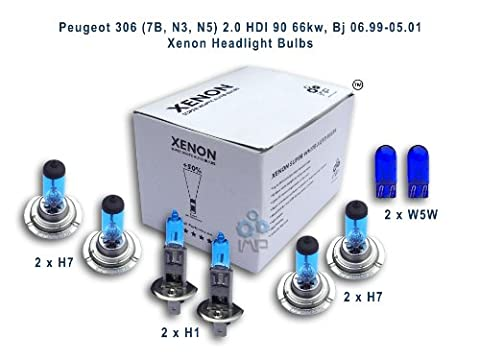 Peugeot 306 (7B, N3, N5) 1.1 44kw, Bj 06.94-05.01 (Single) Xenon Headlight Bulbs H1, H4, H4, W5W