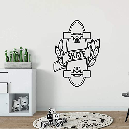 WWYJN Skateboard Vinyl Wall Sticker Teen Quote Skating Sports Vinyl Wall Decals Home Decor Skate Design Removable Wall Mural  57x82cm