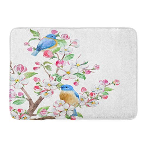 ghkfgkfgk Doormats Bath Rugs Outdoor/Indoor Door Mat Green Cherry Watercolor Spring Blossom Tree Apple Flowers Two Birds Pink Beautiful Bathroom Decor Rug 23.6 x 15.7 Inch -