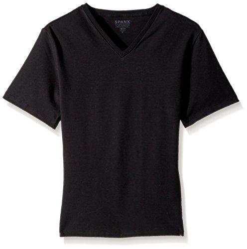 Spanx For Men Cotton Compression V-Neck T-Shirt - Black, Small [Apparel]