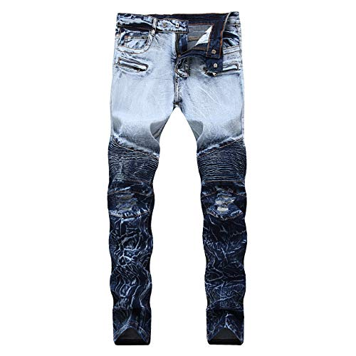 ZXTXGG Männer Full Length Panel elastische Motor Stil Knie Panel Doppel Farben elastische Slim Fit Blue Jeans Hosen Arbeitshosen(38,blau) -