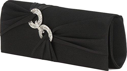 Vincent Perez Pochette de soirée en satin drapé ornée d'anneaux en strass avec bandoulière 24,5x 9,5x 5cm (l x H x P) Noir