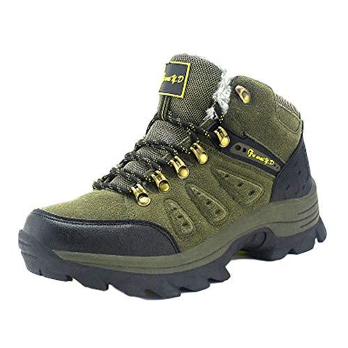 Scarpe da Trekking Uomo Donna Alto Aiuto più Velluto Arrampicata Sportive All'Aperto Escursionismo Sneakers Invia Calze Esercito Verde 43 EU