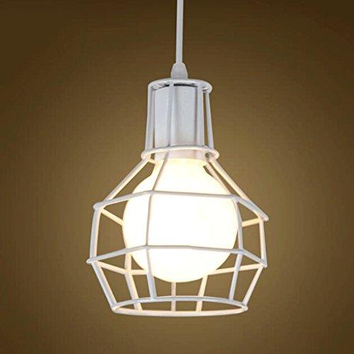 lustre GAODUZI Rétro Fer Creative Seule Tête Personnalité Industriel Barre À Vent Petit Fer Cage Lampes E27 (Couleur : Blanc)