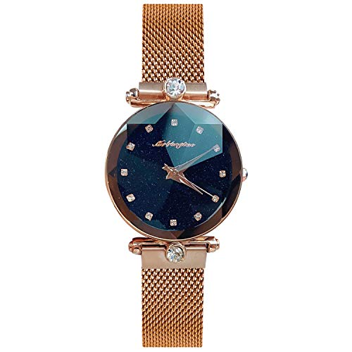 RORIOS Fashion Damen/Women Analog Quarzuhr Armbanduhren Mesh Armband Magnetband Sternenklarer Himmel Simulierter Diamant Dial Armbanduhr