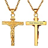 PROSTEEL Cadena Hombre Grabado Dorado con Colgante Cruz Crucifijo Jesús Inri Acero Chapado en Oro …