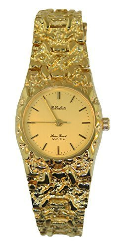 Dufonte By Lucien Piccard Women's Vintage Gold Plated Nugget Round Watch