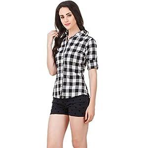 DAMEN MODE Women's Cotton Checkered Shirt 1