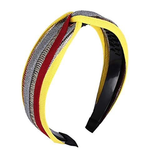 PPWOMEN Haarschmuck - Mode Knoten Weben Stricken Damen Haar HeadHoop Einfache Haar Süße Mädchen Haarband (Gelb, Eine Größe)
