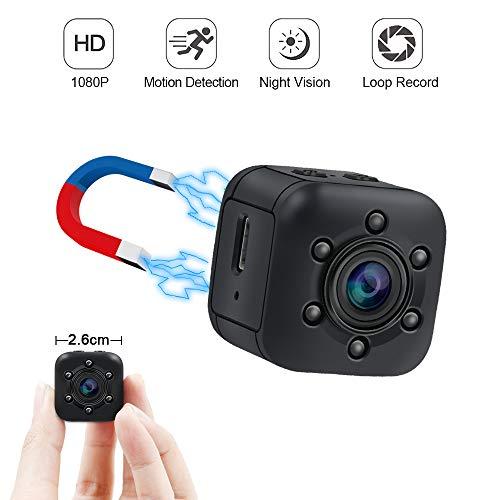 Mini Kamera UYIKOO Kleine Kamera 120 Grad HD 1080P Tragbare Kamera Nanny Cam mit Nachtsicht und Bewegungserkennung Geeignet für Haus/Garage/Garten Sicherheitsüberwachung Kamera (Babysitter Kamera)