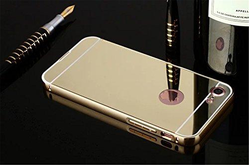 Tianyan Coque iphone 7 Aluminium Métal Bumper Luxe Mirror Etui Housse pour Apple iphone 7 (4.7) Case Or Or