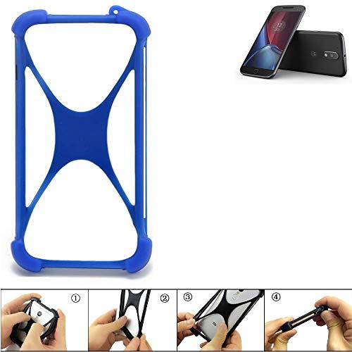 K-S-Trade Handyhülle für Lenovo Moto G (4. Gen.) Plus Silikon Schutz Hülle Cover Case Bumper Silikoncase TPU Softcase Schutzhülle Smartphone Stoßschutz, blau (1x)