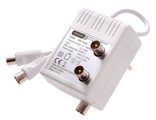 Vivanco VZV 15-NJ BK/TV Zwei-Geräteverstärker (Koaxkupplung - 2x Koaxstecker, 15dB)