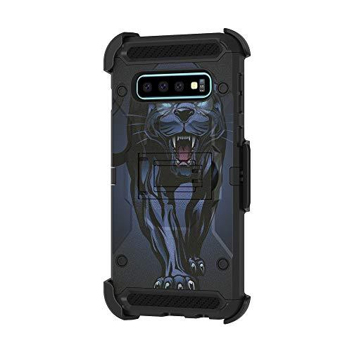 TurtleArmor Schutzhülle für Samsung Galaxy S10+ / S10 Plus Hülle, G975 [Armor Pro] Voller Schutz, Harte Panzerung, Hybrid Gürtelclip mit Ständer, Fierce Panther (4 Boost Mobile Phones Iphone)