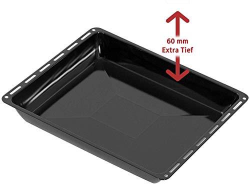 ICQN Extra Tiefes Backblech | Blech | Emailliert | Platte | Universal Backblech | Passend für Bosch-Siemens-Neff-Constructa | Kratzfest | 455 x 377 x 60 mm | BSH Group 662999 - 00662999 Kompatibel