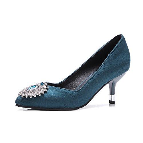 Chaussures Dimaol Nubuck Pompe Printemps De Cuir Femmes Stiletto Talons Confort De Talon Base Punta Strass Party Et Robe De Soirée Vert Vert
