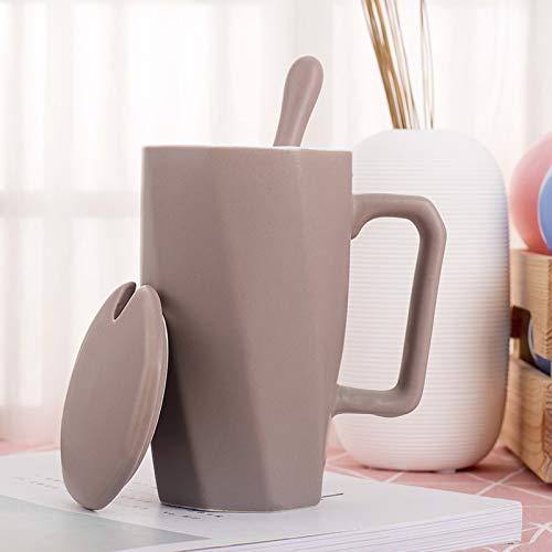 Becher Kaffeetassen Tassen Keramiktasse Mit Deckel Löffel Paar Frühstück Milch Haferflocken Tasse, Khaki -