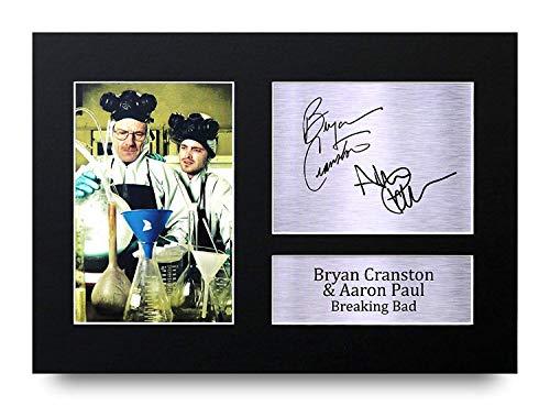 Bryan Cranston & Aaron Paul Les Cadeaux Ont Signé A4 L'Autographe Imprimé Breaking Bad Walter & Jesse Affichage d'image de Photo D'Empreinte