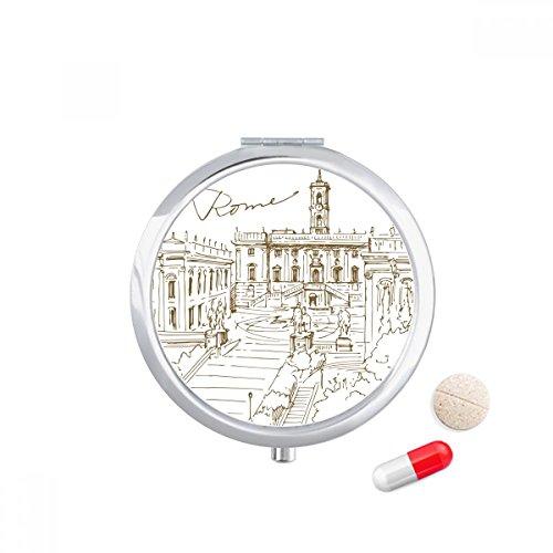 DIYthinker Fontana di Trevi Rom Fontana Sehenswürdigkeit-Reise-Taschen-Pille Fall Medizin Drug Storage Box Dispenser-Spiegel-Geschenk -