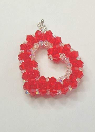 Bicone Siam (IohanaSchmuck handmade Anhänger Offenes 3D Herz rot aus Swarovski Bicone Kristalle)
