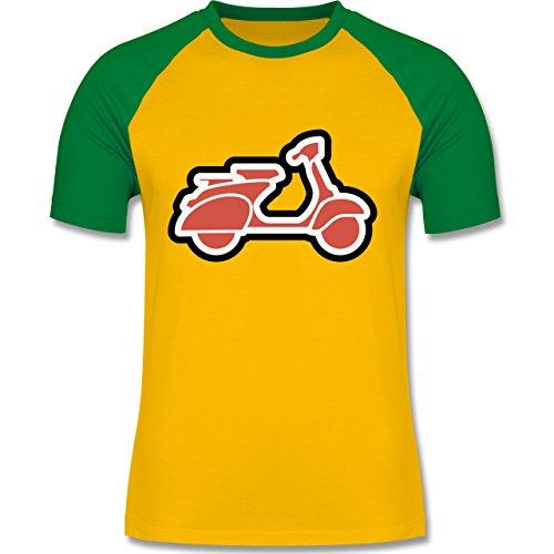 Im Gemacht Usa-t-shirt (Motorräder - Roller Moped - XL - Gelb/Grün - L140 - Herren Baseball Shirt)