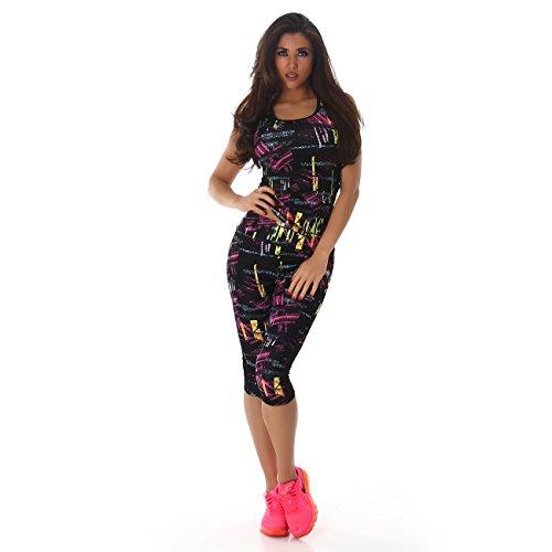 Damen Fitness Zweiteiler Capri Sport-Leggings und Sport-Top als Fitness-Anzug – verschiedene Muster - 4