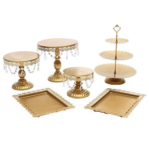 Ljwjialo Multifunktional Tortenständer Weißgold Crystal Cake Stand Hochzeit Dessert Tischdekoration Kuppel (Color : Gold) Crystal Sugar Bowl