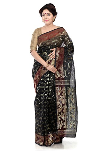 B3Fashion Handloom Traditional Black Dhakai Jamdani silk saree