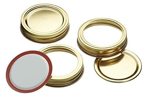 Home Made Paquet de 12 couvercles à conserve avec anneau à visser pour bocaux 500 ml et 1000 ml