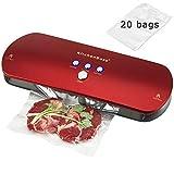 KitchenBoss Machine Sous Vide, Système Automatique de Sous Vide, Indicateur Intelligent de LED, Inclus 20 Pcs Sac Sous Vide Alimentaire (Rouge)