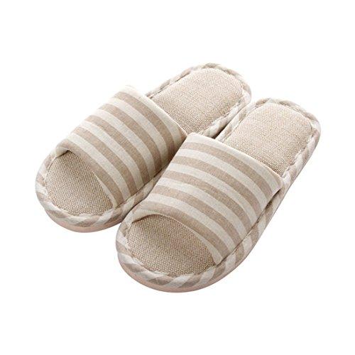 Damen Baumwolle Ziehen (WEIAIXX Bettwäsche Streifen Hausschuhe Damen Tuch Sommer Paar Schuhe Nach Hause Innen Rutschfeste Hausschuhe Baumwolle Ziehen 42-43 Passen 40-42 Füße Frauensektion Khaki)