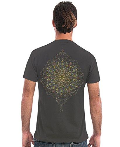 Street Habit Herren T-Shirt mit Peyote Mandala Geometrie Aufdruck - Handgefertigt durch Siebdruck auf 100% Baumwolle Grau