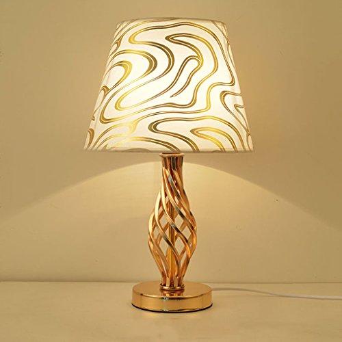 Schreibtischlampen Tischleuchten Moderne minimalistische kreative Tischlampe, hochwertige Stoff Lampenschirm Wohnzimmer Lichter, Eisen Lampe Körper Schlafzimmer Wohnzimmer Lampe (Gold, Silber) Tisch-& -