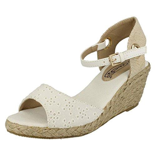 Spot On Damen Sandalen mit Keilabsatz und Knöchelriemen (40 EU) (Weiß) (Plain Farbstoff)
