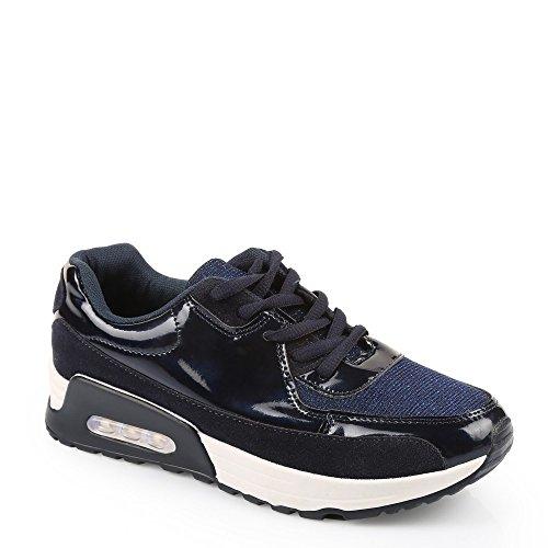 Ideal Shoes–Sneaker 2Materialien Style Running ecina Blau - Marineblau