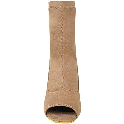 NUOVO DA DONNA MEDIO tacco basso e Largo Stivali caviglia punta aperta apertura sul retro Scarpe Numeri Mocha Marrone Camoscio Sintetico