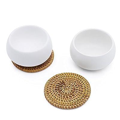 ZENS Théière avec Infuseur Théière Japonaise Théière Asiatique en Porcelaine Deux tasses à double parois et deux sous- verres en rotin 800ml