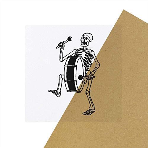 6 x \'Skelett mit Bassdrum\' Transparente Aufkleber / Stickers