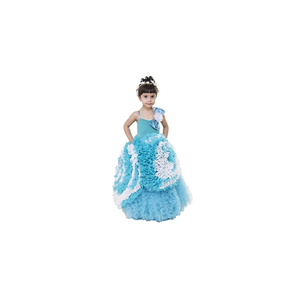 f984a3a1e Samsara Couture Baby Girls Sky Blue Chiffon net and Satin Elsa Gown Dress  for Girls