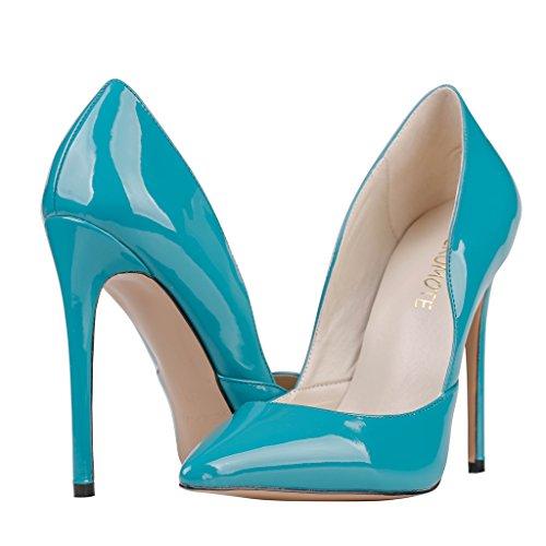 MERUMOTE Damen Spitze Stilett Kleid-Partei Hochzeit Pumps Schuhe Blau-Lackleder