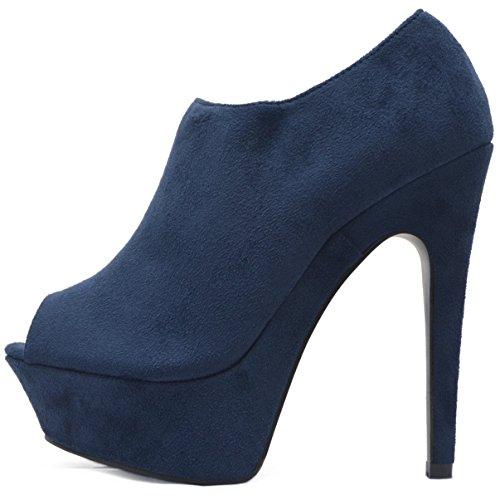 Vain Secrets Plateau Peeptoes Stiefeletten Damen Ankle Boots in Velours Samt mit Reißverschluss (38, Blau)