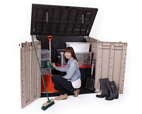 Keter Store It Out Max Gartenbox Mülltonnenbox Gerätebox Schuppen für 2 x 240 Liter Mülltonnen (Beige Braun) - 5