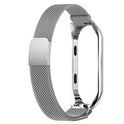 MIUSON - Correa de Reloj de Acero Inoxidable con Cierre magnético para Xiaomi Mi Band 3