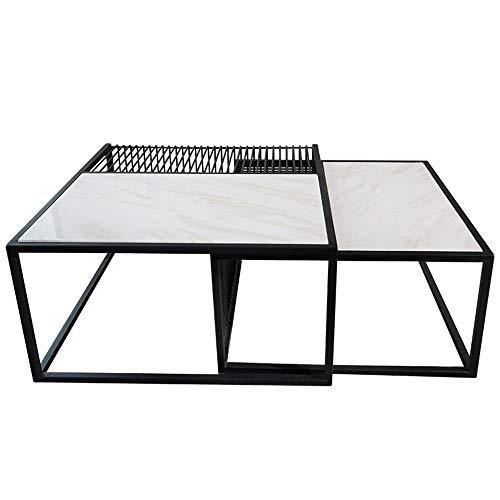 YIKE-Tavolini da caffè Combinazione Creativa del tavolino da caffè in Ferro battuto, Struttura fine di Marmo Naturale, Tavolo Basso Minimalista Moderno Minimalista Nordico del Salone