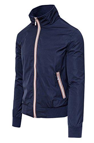 Mat sartoriale giubbotto giacca uomo blu casual estivo slim fit giubbino moto impermeabile (l)