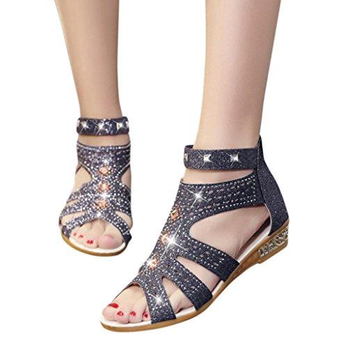 Scarpe donna,sandali estivi donna elegante ragazze,yanhoo®infradito da donna sandali con zeppa con zeppa da donna primavera estate (38, nero)