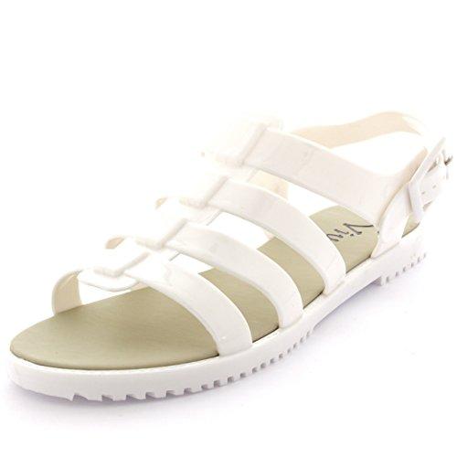 Damen Fesselriemen Gelee Sommer Peep Toe Schnalle Festival Sandalen Weiß