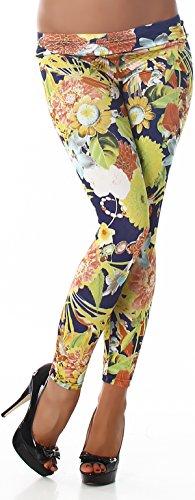 Q.C. Damen verschiedene Stoff-Leggings mit Blumen, Paisley oder Glitzer (32 - 38) Asiatisch Blau